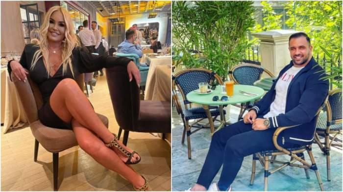 Colaj cu Vica Blochina în rochie neagră/ Alex Bodi pe scaun.