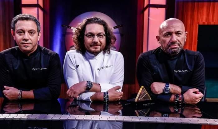 Florin Dumitrescu, Cătălin Scărlătescu și Sorin Bontea la Chefi la cuțite.