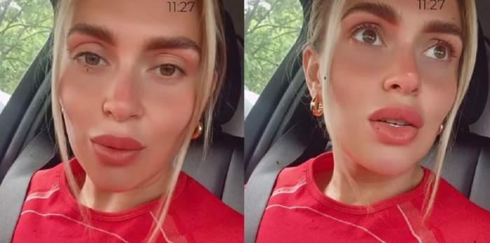 Oana Radu se află în mașină. Vedeta poartă o bluză roșie.