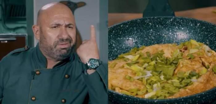 În stânga Cătălin Scărlătescu își ține degetul arătător ridicat și poartă uniformă de bucătar. În dreapta e o poză cu omleta gătită de el.