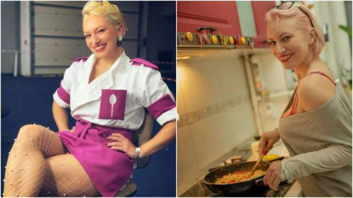 Colaj cu Nicoleta Pop în tunică/ Nicoleta Pop în timp ce gătește.