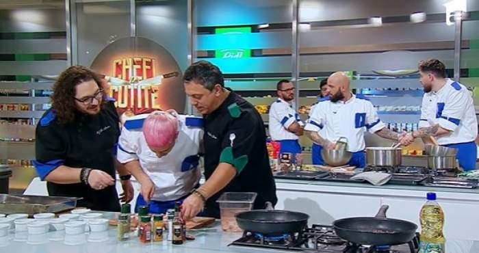 Chef Sorin Bontea, obligat să ajute echipa lui chef Florin Dumitrescu.