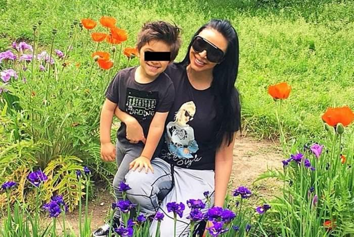 andreea podarescu si fiul ei in iarba