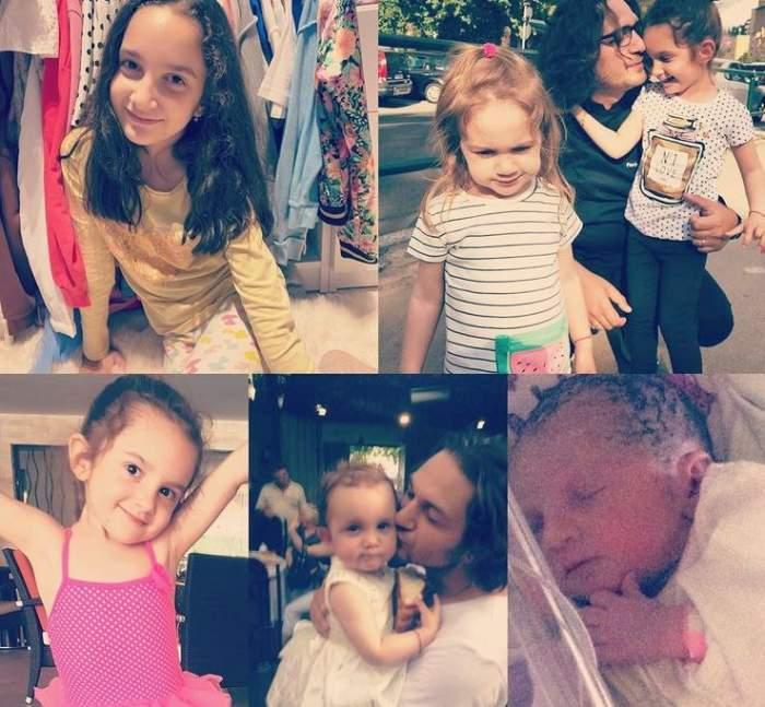 Un colaj cu Florin Dumitrescu și fiicele sale, Ava și Mia, din diferite etape ale vieții.