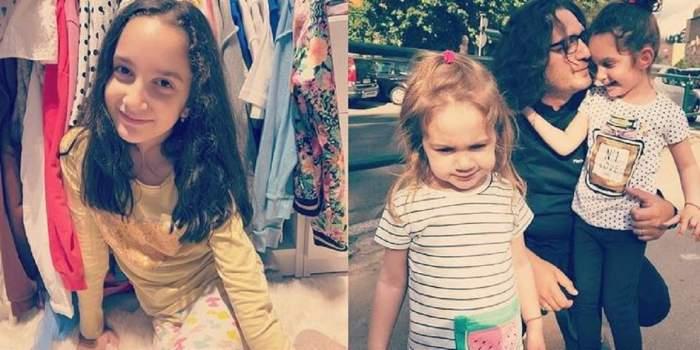 În stânga e o poză cu Ava, fiica cea mare a lui Florin Dumitrescu, din dressing. În dreapta vedeta o ține în brațe și în cadru e și fiica cea mică, Mia.