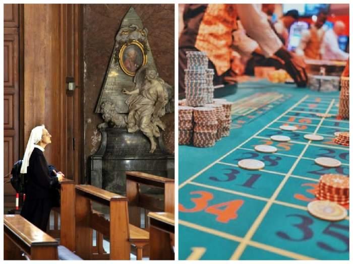 colaj calugăriță în biserică și masa de poker