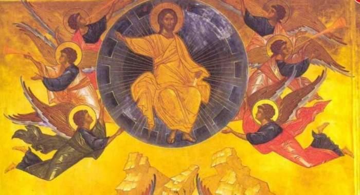 O icoană în care este reprezentată Înălțarea Domnului. Iisus Hristos e înconjurat de îngeri.