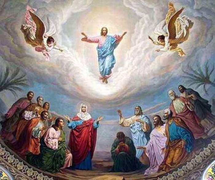O icoană simbol pentru Înălțarea Domnului. Iisus Hristos e ridicat la Ceruri.