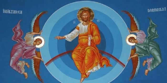 Icoană cu Înălțarea Domnului. Iisus Hristos e în mijloc și lângă El doi îngeri.