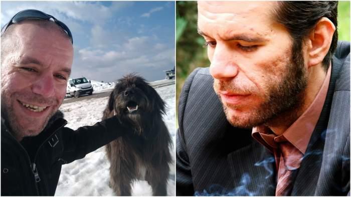 Colaj cu Sebastian Bălan cu un câine/ Sebastian Bălan, ședință foto.