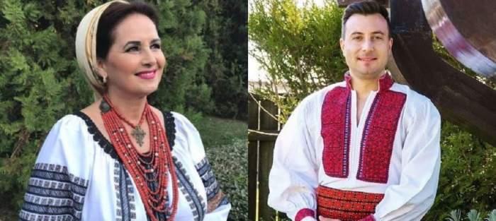 În stânga e o poză cu Margareta Clipa în timp ce poartă ie albă și basma. În dreapta e Valentin Sanfira în ie albă cu model roșu. Amândoi zâmbesc.