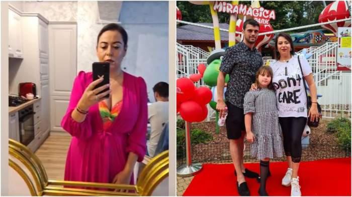 Colaj cu Oana Roman, selfie în oglindă/ Oana Roman alături de Marius Elisei și Isa.