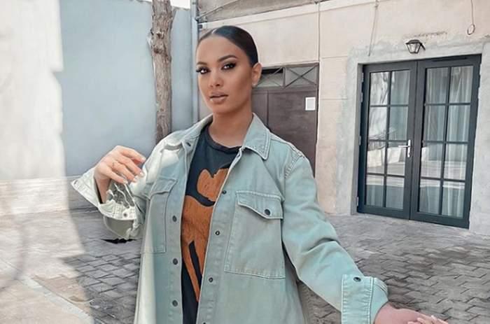 betty visanescu imbracata provacator in curte