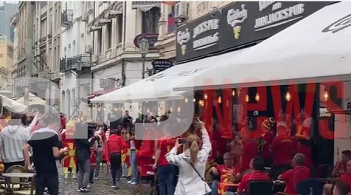 Suporterii Macedoniei au invadat Centrul Vechi al Capitalei. Atmosferă incendiară înainte de meciul cu Austria de pe Arena Națională / VIDEO
