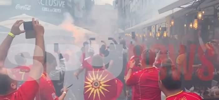 suporterii Macedoniei în Centrul Vechi din București