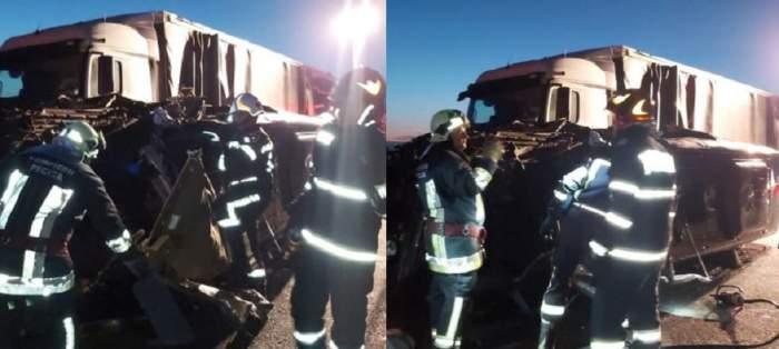 Colaj cu accidentul de lângă Vama Nădlac în care un om a murit și alți 16 au fost răniți. La fața locului au sosit pompierii.