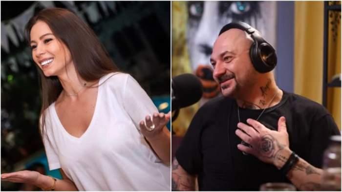 Colaj cu Iuliana Luciu cu tricou alb/ Cristi Mitrea în timpul unui interviu.