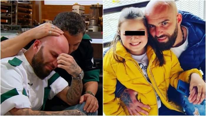 Colaj cu Dorin Voiasciuc în timp ce plânge/ Dorin alături de fiica sa.