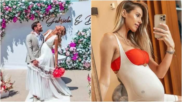 Colaj cu Dani Oțil și Gabriela Prisăcariu de la nuntă/ Gabriela Prisăcariu cu burtica de gravidă la vedere.