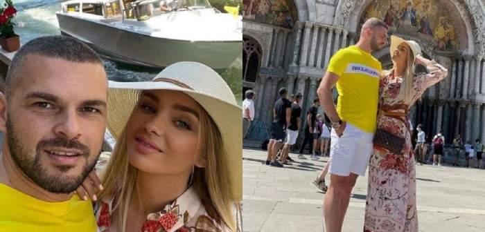 Un colaj cu Maria Constantin și iubitul în Veneția. Ea poartă pălărie albă și o rochie înflorată, iar el tricou galben și pantaloni scurți albi.