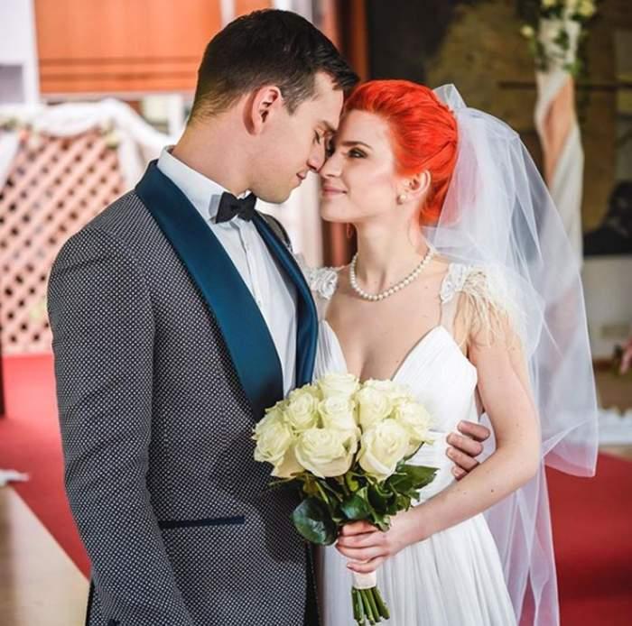 Cristina Cioran și Traian Văduva în perioada în care formau un cuplu, în rol de mire și mireasă.