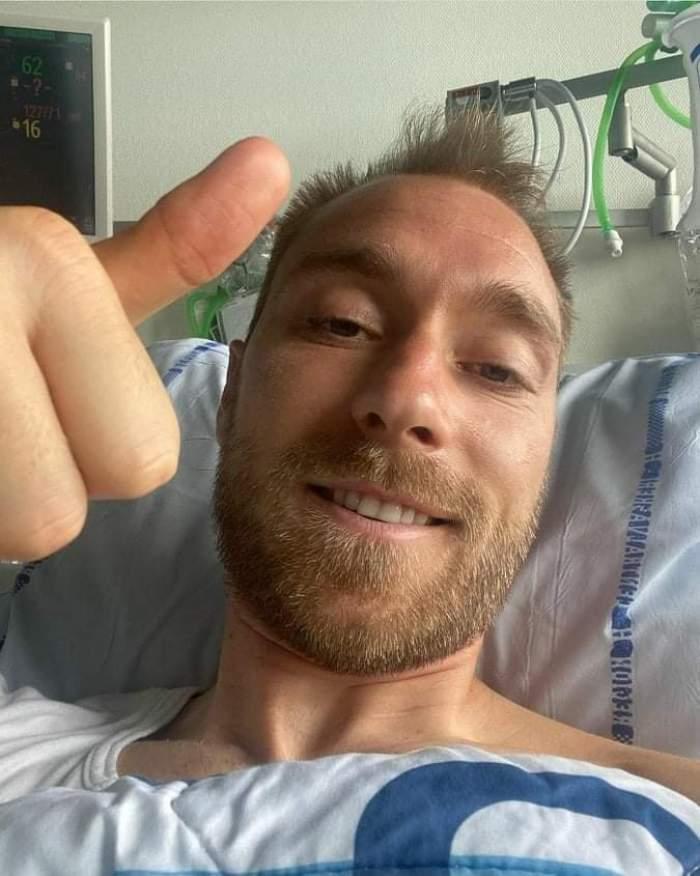 """Christian Eriksen, prima fotografie de pe patul de spital, după accidentare. Ce mesaj a dorit să transmită fotbalistul: """"Având în vedere circumstanțele...""""/ FOTO"""
