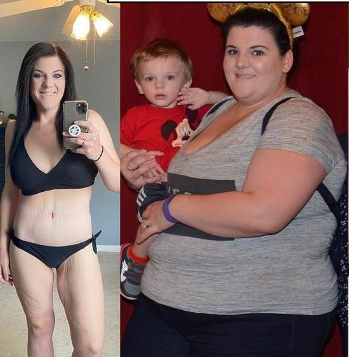 """O femeie a reușit să slăbească 90 de kilograme într-un timp record. Cum s-a produs transformarea spectaculoasă: """"Mâncarea era drogul meu"""" / FOTO"""