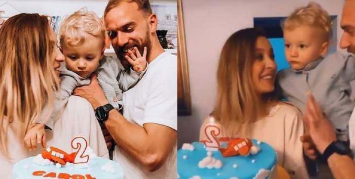 Un colaj cu Flavia Mihășan, iubitul ei și fiul lor cel mare de la ziua de naștere a lui Carol. Vedeta zâmbește și ține tortul bleu în mână.