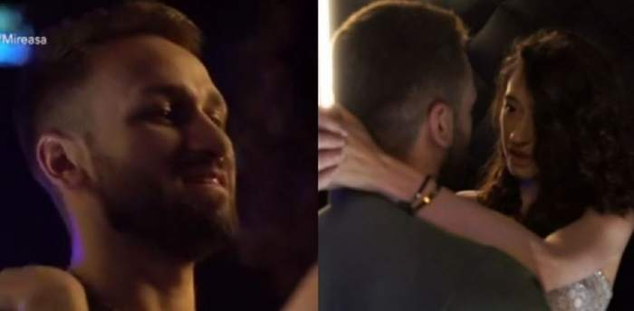 Un colaj cu Alin și Adelina în casa Mireasa. El zâmbește, iar ea poartă o rochie argintie și are mâinile după gâtul lui.