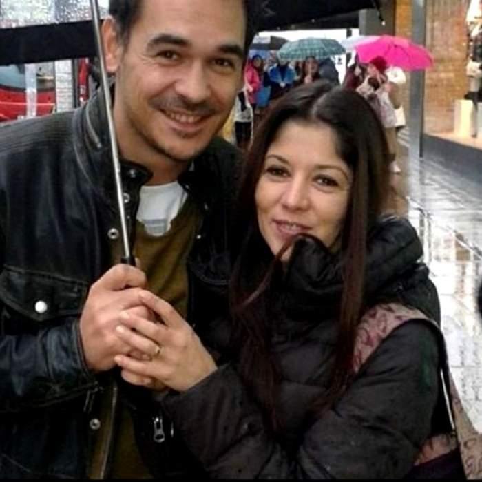 Răzvan Simion și Diana, când formau un cuplu, sub umbrelă.