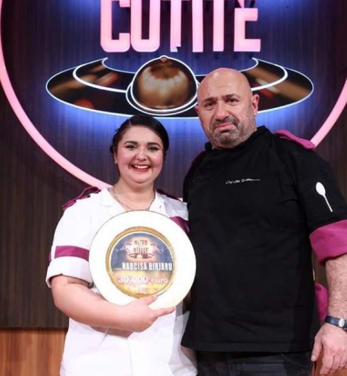 Narcisa Birjaru alături de Cătălin Scărlătescu, cu marele premiu în mână.