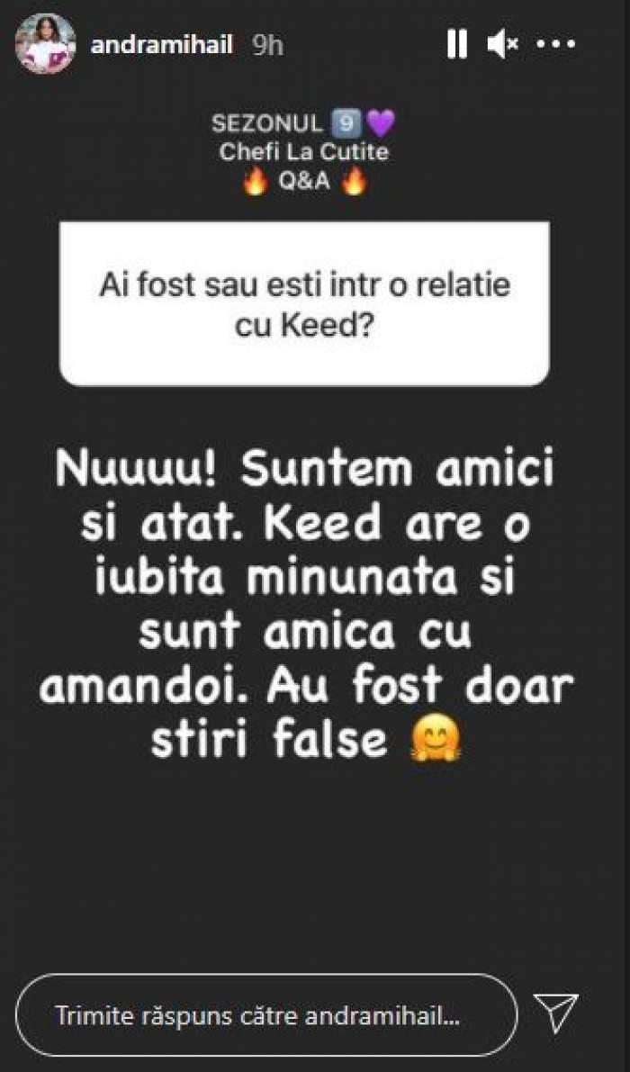 Captură cu mesajul postat de Andra Mihail.