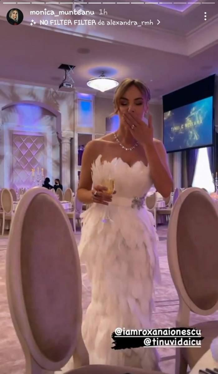Ce rochie spectaculoasă a îmbrăcat Roxana Ionescu astăzi la petrecerea de nuntă. Vedeta a atras toate privirile