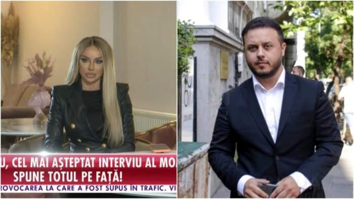 Colaj cu Bianca Drăgușanu în timpul interviului/ Gabi Bădălău la costum.