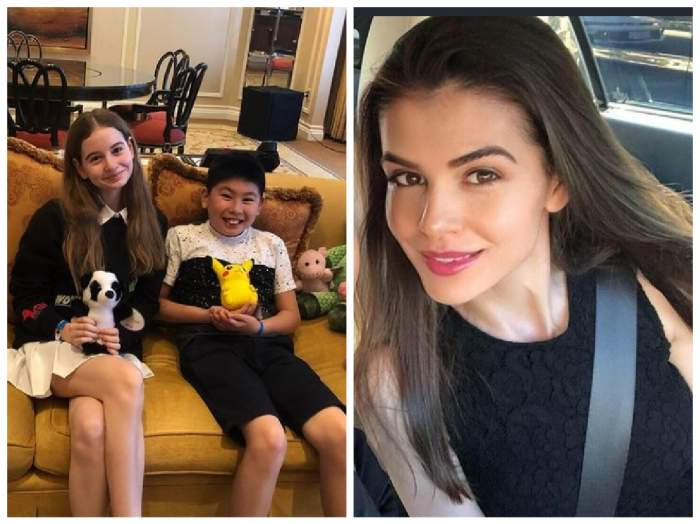 Irinuca și Antoniy, fiul lui Mr Pink, pe canapea plus Monica Gabor selfie