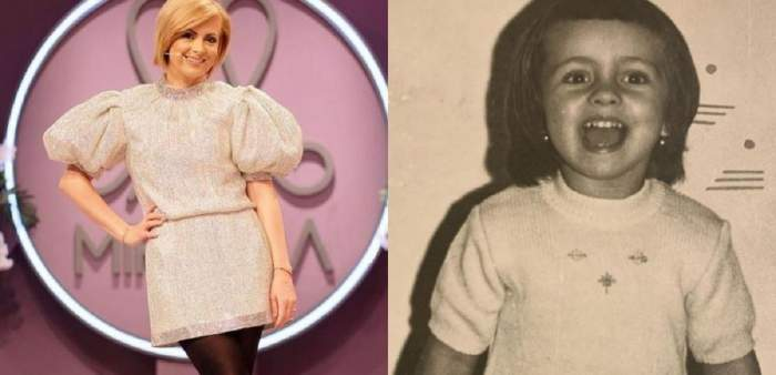 În stânga e Simona Gherghe într-o rochie cu paiete albe spre argintiu, iar în dreapta o poză cu ea alb-negru de când era mică.