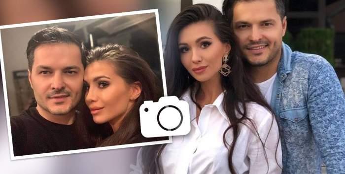 O machetă cu Liviu Vârciu și Anda Călin. În stânga e o poză cu ei în care își fac un selfie, iar în dreapta una când el o ține în brațe.