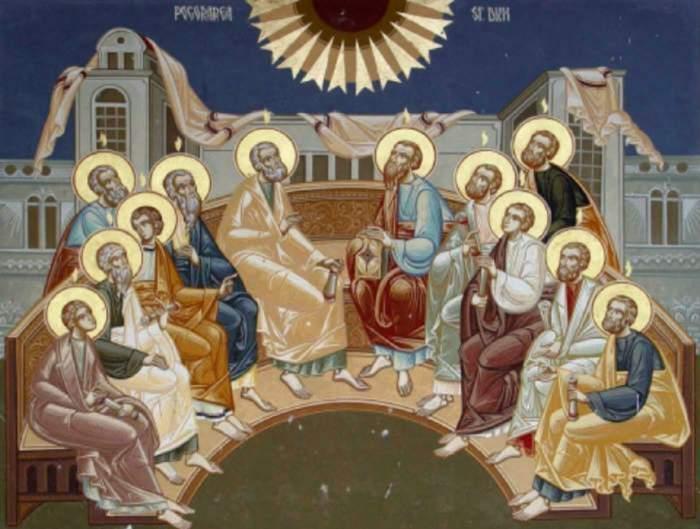 O icoană în care sunt simbolizate Rusaliile.