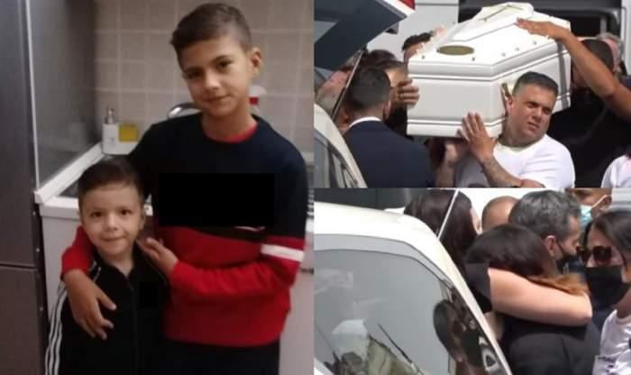 Un colaj cu înmormântarea lui Daniel și David Fusinato, frățiorii omorâți în Italia. Sicriele lor albe sunt purtate de oameni pe umeri, iar mama lor plânge lângă mașina funerară.