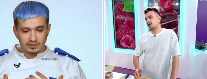Un colaj cu Keed. În stânga e la Chefi la cuțite și poartă uniformă albă de bucătar, iar în dreapta e la Star Matinal și poartă tricou alb.