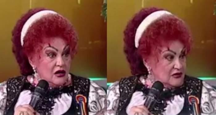 Un colaj cu Elena Merișoreanu. Artista poartă pe cap o diademă albă, e îmbrăcată cu o ie albă cu model și vestă neagră și vorbește la microfon, la Antena Stars.