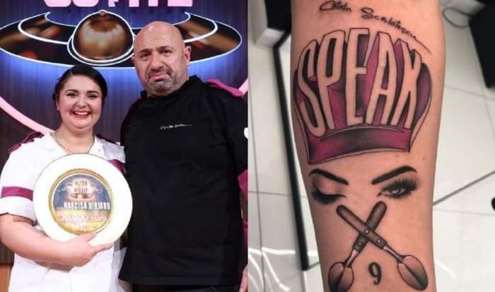Un colaj cu Narcisa Birjaru. În stânga e ținută cu o mână în brațe de Cătălin Scărlătescu iar ea ține în mână premiul Chefi la Cuțite, iar în stânga e tatuajul ei făcut după ce a câștigat competiția.