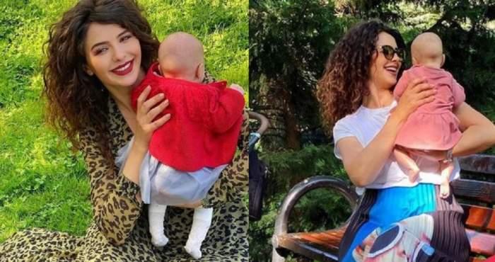 Un colaj cu Like Creața. În ambele imagini își ține fetița în brațe și zâmbește larg.