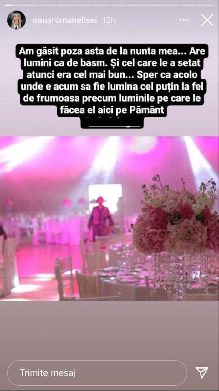 Oana Roman le-a spus fanilor de pe Instagram că cel care s-a ocupat de lumini la nunta ei a murit.