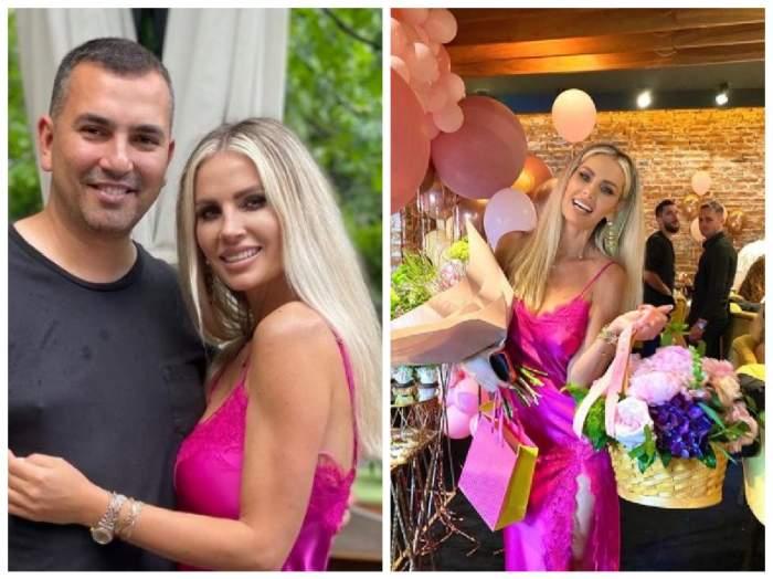 Colaj cu Andreea Bănică și soțul ei la petrecerea aniversară