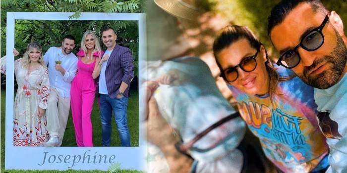 O machetă cu Gina Pistol și Smiley. În stânga sunt la botezul fiicei lor, iar în dreapta își fac un selfie purtând ochelari de soare.