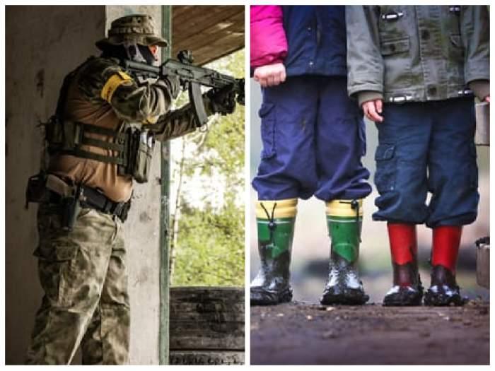 colaj cu un soldat și copii