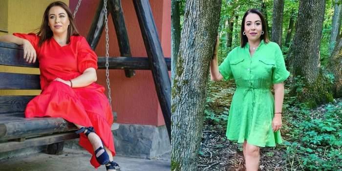oana roman in rochie rosie si verde