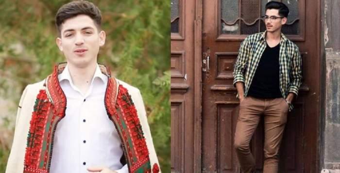 Un colaj cu Adrian Bâc, artistul mort la 24 de ani. În stânga poartă haine tradiționale, iar în dreapta e în fața unei uși.