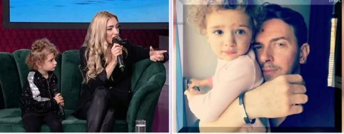 În stânga Misty și fiica ei sunt la Antena Stars, iar vedeta dă un interviu. În dreapta e o poză cu Keo și fetița lor, în care o ține în brațe.